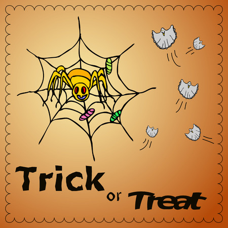 Trick or treat illustration with spiderman and ghosts. Invitation card of Halloween holiday for your design