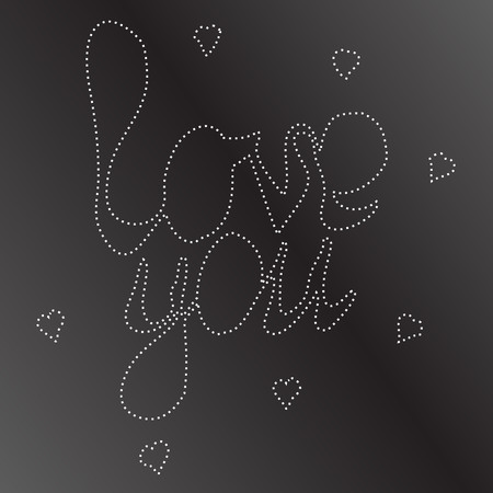 stitching: love you phrase with hearts. letters were stitching of white thread on black background