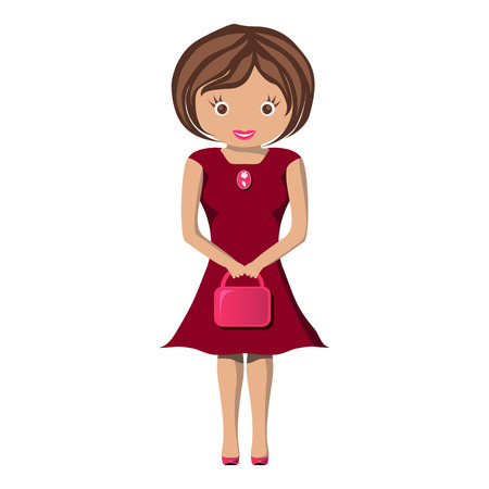 Happy Woman in dark red dress. young female with little bag drawn isolated