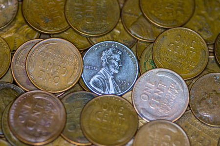penny: Pile of US penny macro shot
