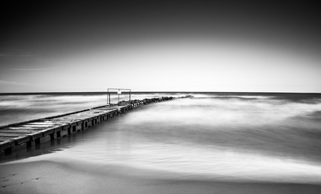 long lake: Long exposure landscape, Lake Michigan view, black and white composition