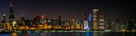 Chicago skyline view, night time panoramic photograph Stock Photo