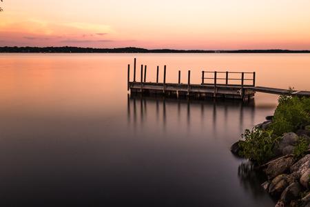 long lake: Sunset time at the lake, long exposure