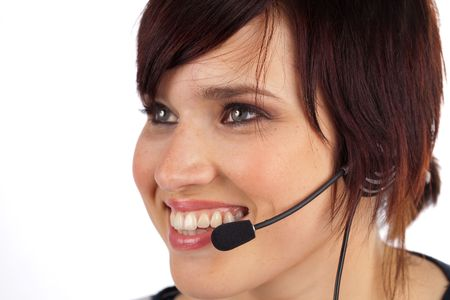 Beautiful Young Female Phone Operator on a White Isolated Background