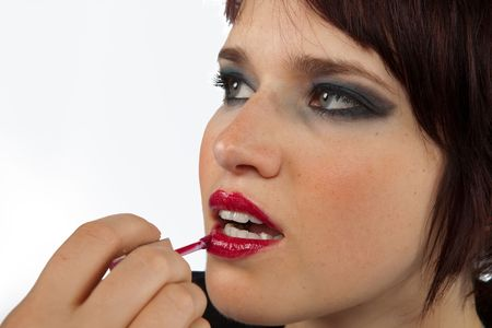Young Female Model, die erste Make Up-Applied By Professional