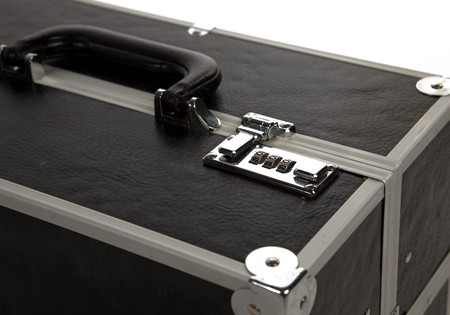 Lock On A Suitcase Up Close on White Isolated Background  photo