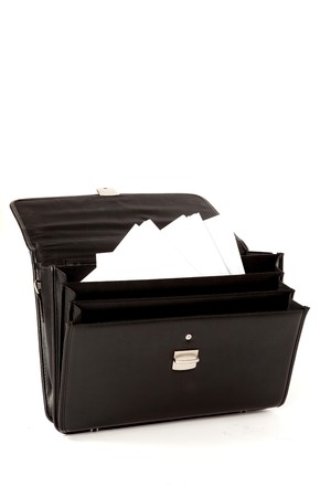 Black Suitcase with Paperwork on a White Isolated Background Stock Photo