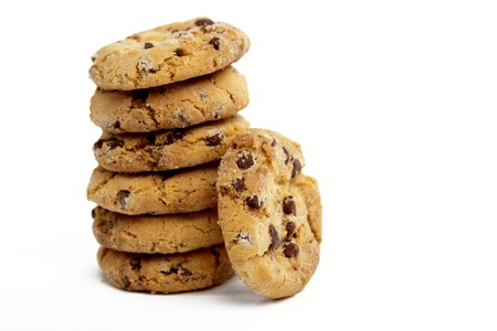 Chocolate Chip Cookies in a Pile on a White Isolated Background Stock Photo
