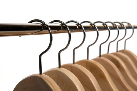 Wooden Clothes Hangers on a White Isolated Background