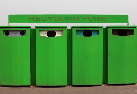 Green Recycling Containers For Clear, Green, Brown Glass and Cans