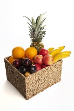 Selection of Fresh Fruits in Basket on White Isolated Background Stock Photo