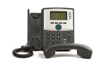 phone number: IP Phone Off The Hook On White Isolated Background