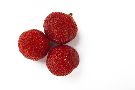 Fresh Red Strawberries on a White Isolated Background Stock Photo
