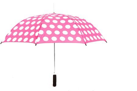 Rosa Umbrella mit wei�e Flecken auf wei�er isolierte Hintergrund