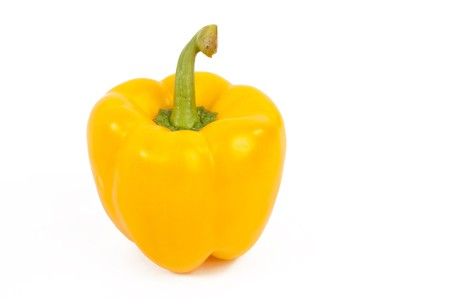 Fresh Yellow Paprika on White Isolated Background