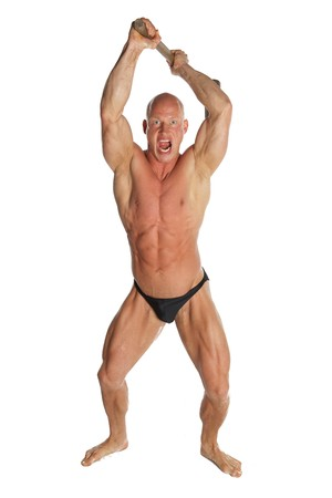 Angry Fit Bodybuilder With Hammer On White Isolated Background