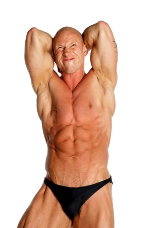 Fit Bodybuilder On Black Isolated Background
