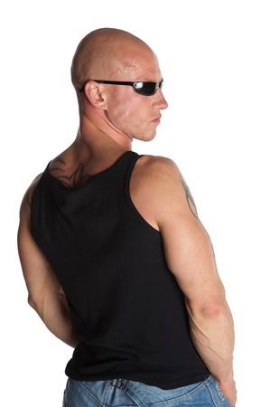 Passen Sie Dressman mit Sonnenbrille auf wei�em hintergrund isoliert Lizenzfreie Bilder