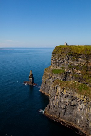 moher: Cliffs of Moher with Blue Sky in County Clare, Ireland