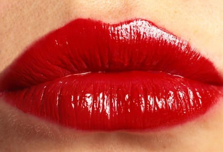 Bright Red Womans Lips Close Up photo