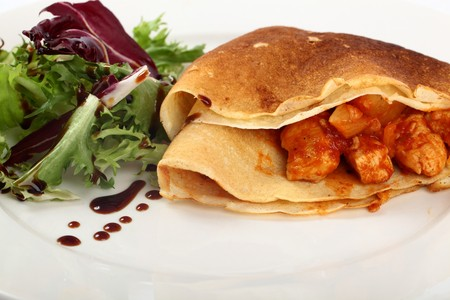 crepe: Delicious Pancakes Filled With Chicken, Pineapples And Cheese