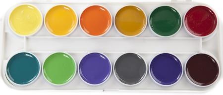 Farbenfrohe Aquarelle Palette auf wei�en Hintergrund