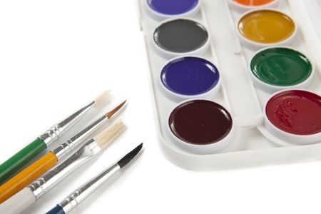 Colourful Watercolors Palette with Brushes Isolated on White Background Stock Photo