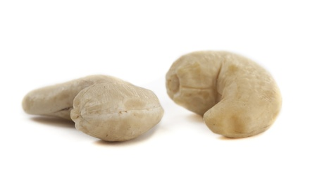 Two Cashew Nuts on White Isolated Background