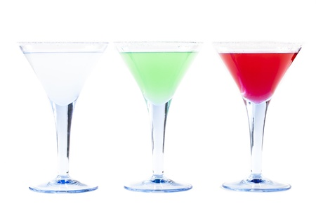 Three Colorful Coctails Isolated on White Background Stock Photo