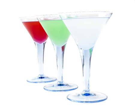 Three Colorful Coctails Isolated on White Background Stock Photo - 11276370