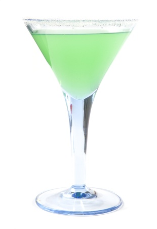 Green Coctail in Glass Isolated on White Background