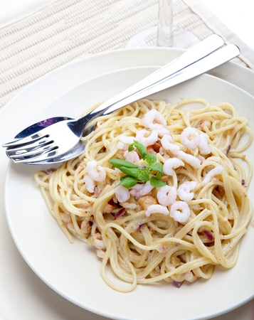 Pasta in a Shrimp Sauce on a Plate