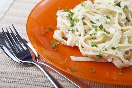 Pasta with Cheese Sauce and Fresh Parmesan on a Plate  Stock Photo
