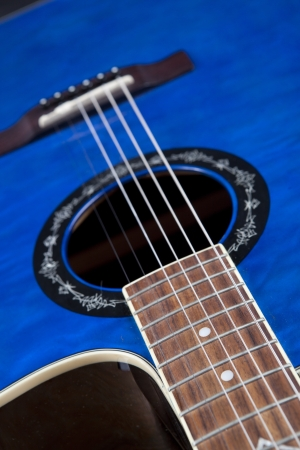 Close Up Details of Traditional Blue Guitar