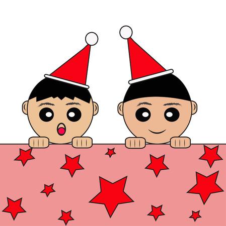 the offspring: Ni�o, Navidad, aroler, Hijos, Santa Claus, sombrero, de pie, Felicidad.