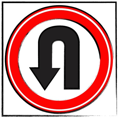 u turn sign: U Turn, Road Sign, Reversing Stock Photo
