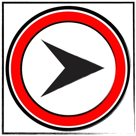 Traffic sign show the turn right on white background