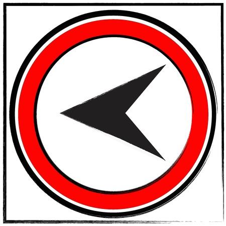 left turn road sign on white background Stockfoto