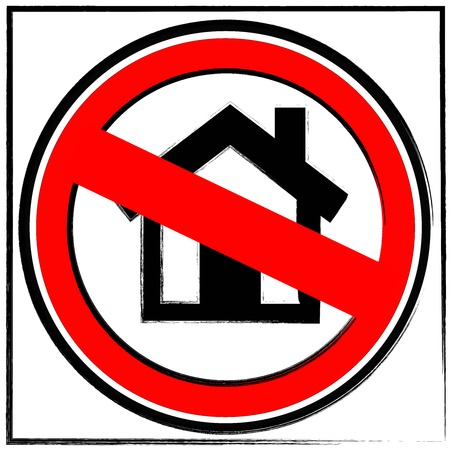 prohibition traffic sign with a little house meaning human settlement forbidden