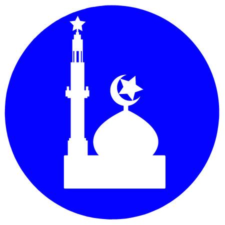 Mosque symbol in circle color blue.
