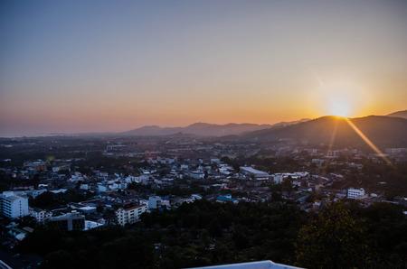 Downtown sunset Stockfoto