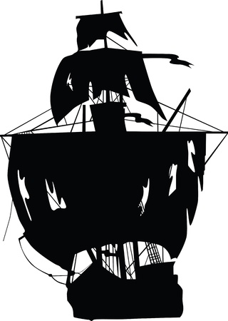 pirate boat: Ship vector of pirates. Vector illustration.