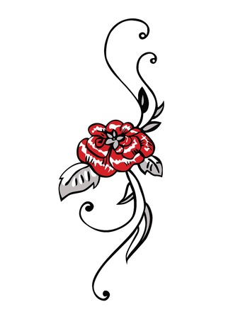 red rose black background: Red rose with leaves. Vector illustration.