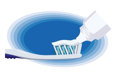 floss: Tooth brushing on blue background. Vector illustration. Illustration