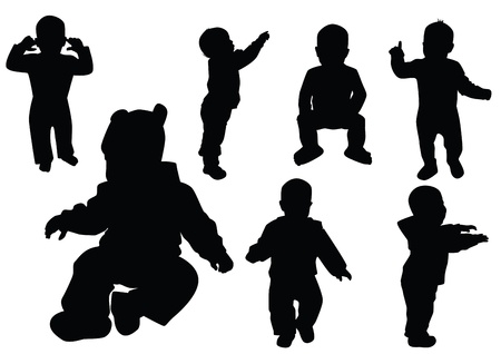 outline person: Collection of kids. Black outline.