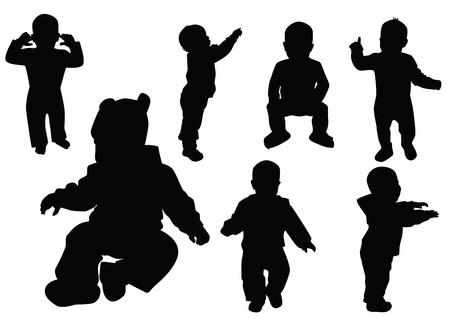 Sammlung der Kinder. Schwarzer Umriss. Vektorgrafik