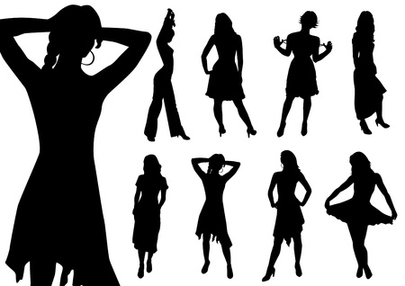 Collection of girls. Black contour. Vector