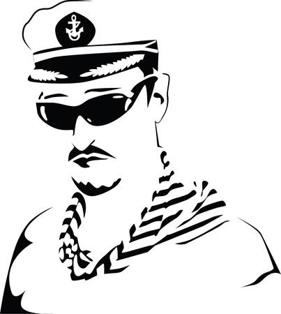 Sea captain. Black and white. Stock Vector - 10467850
