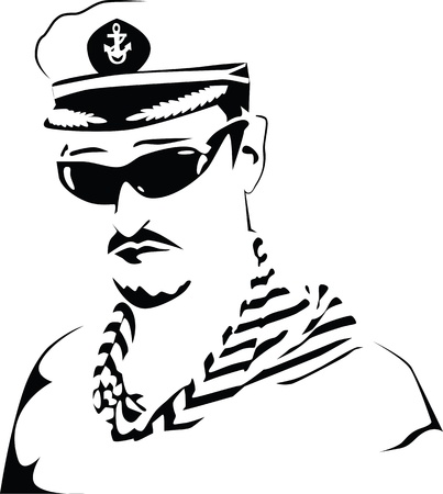 black head and moustache: Sea captain. Black and white. Illustration
