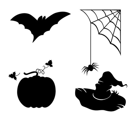 Collection for Halloween. Bat, pumpkin, hat and spider. Vector